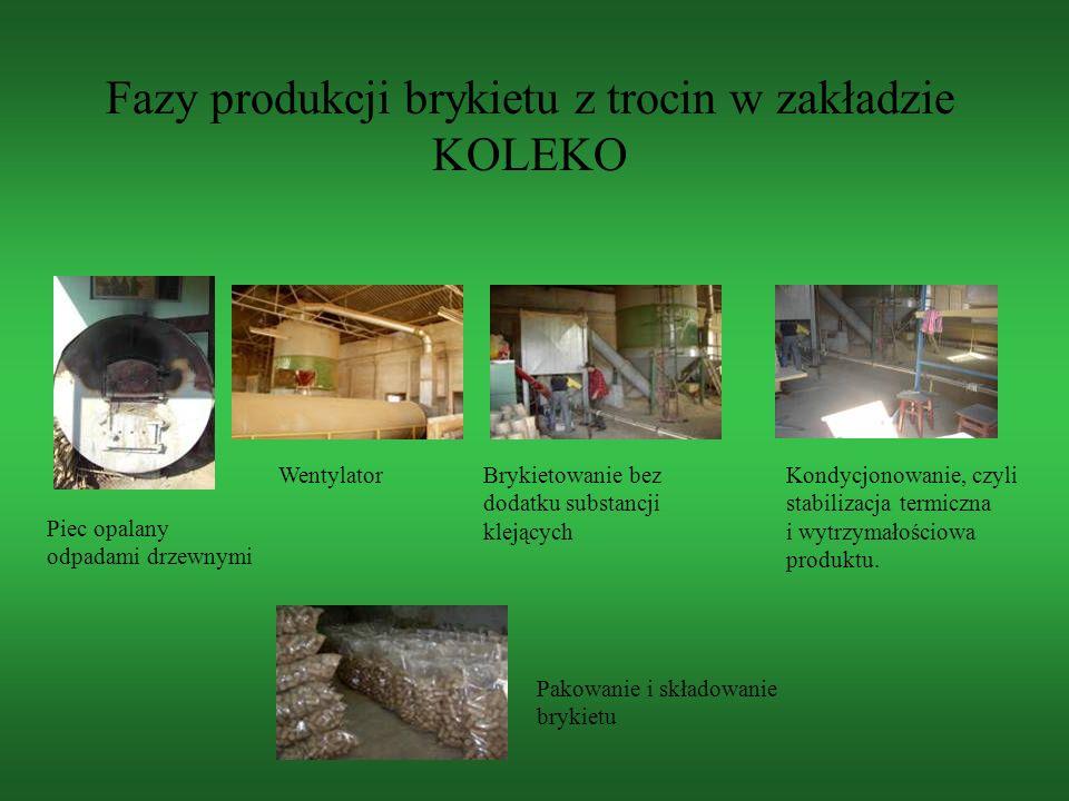 Kondycjonowanie, czyli stabilizacja termiczna i wytrzymałościowa produktu. Pakowanie i składowanie brykietu Piec opalany odpadami drzewnymi Wentylator