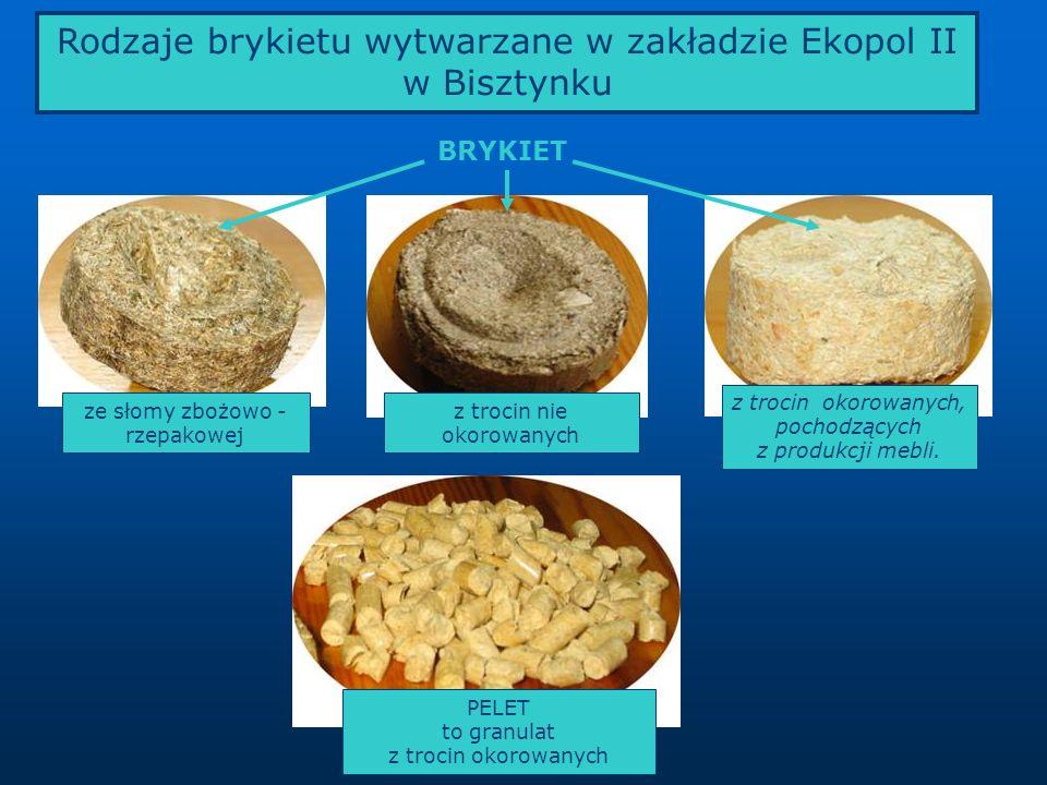 Rodzaje brykietu wytwarzane w zakładzie Ekopol II w Bisztynku z trocin okorowanych, pochodzących z produkcji mebli. BRYKIET z trocin nie okorowanych z