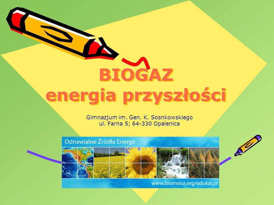 BIOGAZ energia przyszłości Gimnazjum im. Gen. K. Sosnkowskiego ul. Farna 5; 64-330 Opalenica