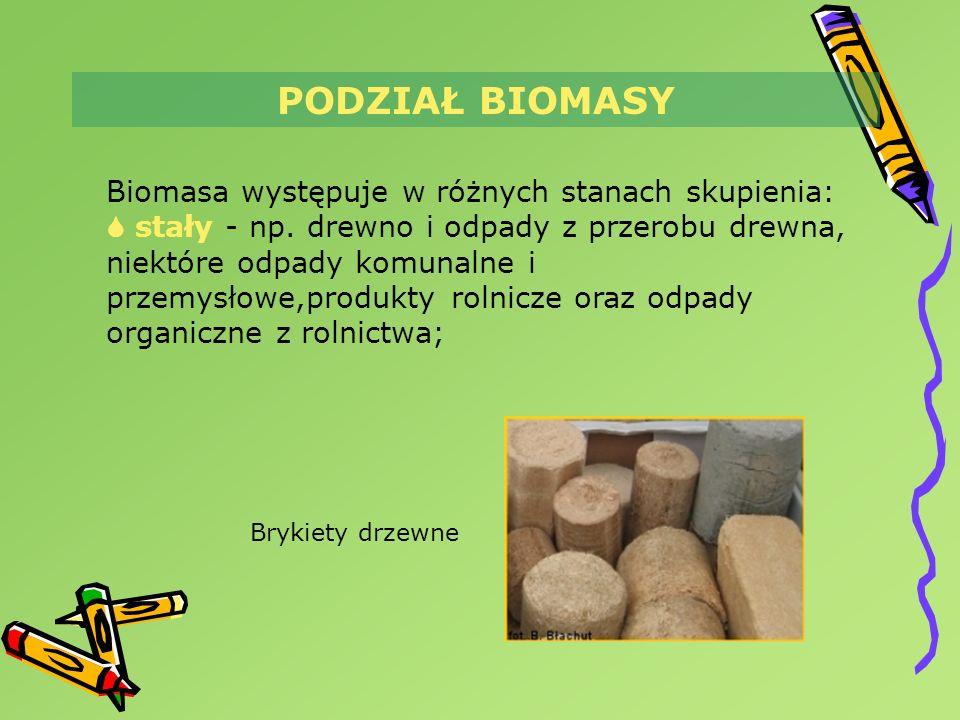 PODZIAŁ BIOMASY Biomasa występuje w różnych stanach skupienia: stały - np. drewno i odpady z przerobu drewna, niektóre odpady komunalne i przemysłowe,