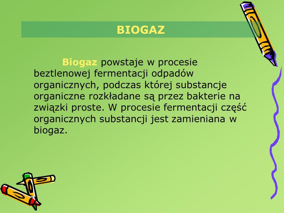BIOGAZ Biogaz powstaje w procesie beztlenowej fermentacji odpadów organicznych, podczas której substancje organiczne rozkładane są przez bakterie na z