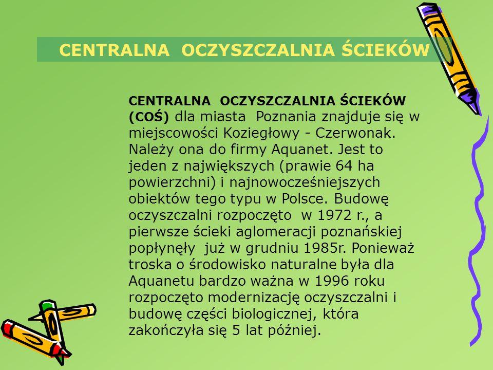 CENTRALNA OCZYSZCZALNIA ŚCIEKÓW CENTRALNA OCZYSZCZALNIA ŚCIEKÓW (COŚ) dla miasta Poznania znajduje się w miejscowości Koziegłowy - Czerwonak. Należy o