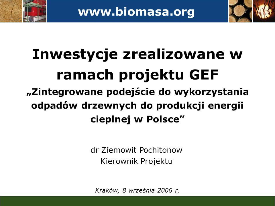 www.biomasa.org Inwestycje zrealizowane w ramach projektu GEF Zintegrowane podejście do wykorzystania odpadów drzewnych do produkcji energii cieplnej