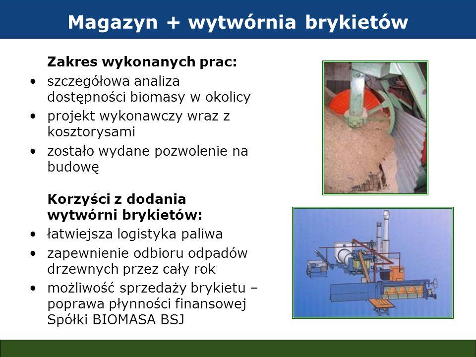 Magazyn + wytwórnia brykietów Zakres wykonanych prac: szczegółowa analiza dostępności biomasy w okolicy projekt wykonawczy wraz z kosztorysami zostało