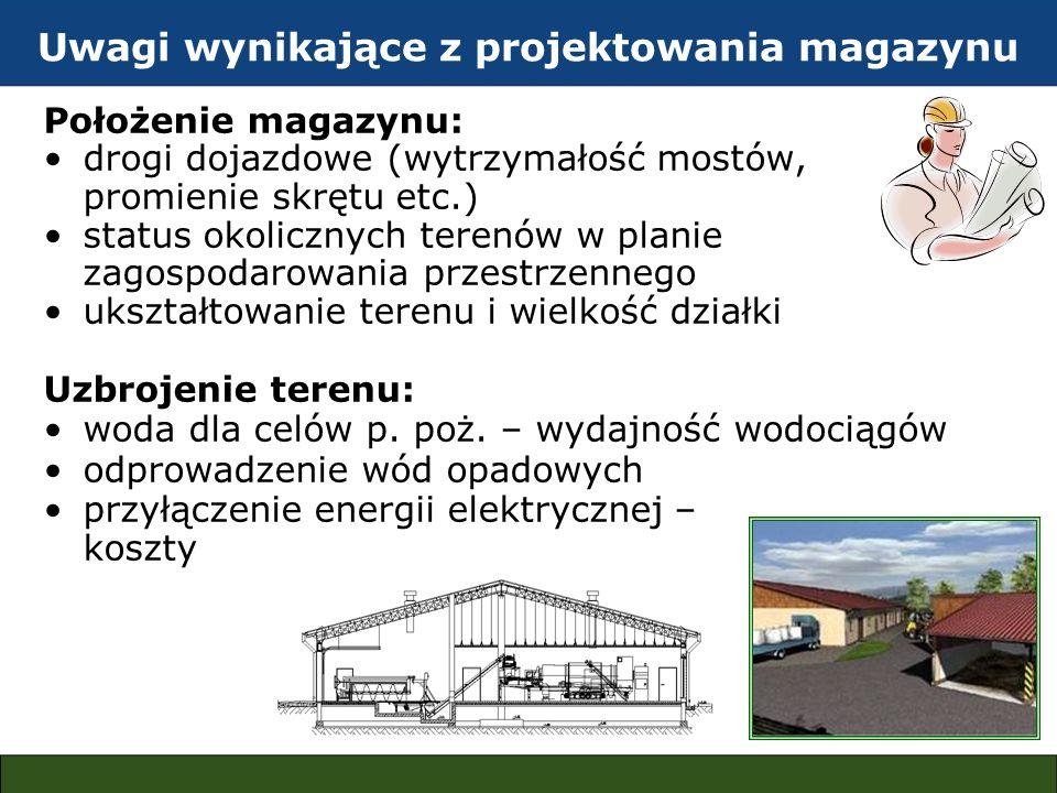 Uwagi wynikające z projektowania magazynu Położenie magazynu: drogi dojazdowe (wytrzymałość mostów, promienie skrętu etc.) status okolicznych terenów