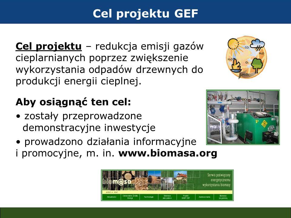Cel projektu GEF Cel projektu – redukcja emisji gazów cieplarnianych poprzez zwiększenie wykorzystania odpadów drzewnych do produkcji energii cieplnej