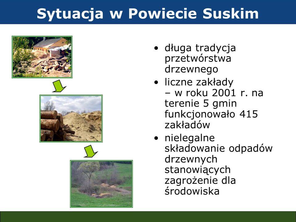 długa tradycja przetwórstwa drzewnego liczne zakłady – w roku 2001 r. na terenie 5 gmin funkcjonowało 415 zakładów nielegalne składowanie odpadów drze