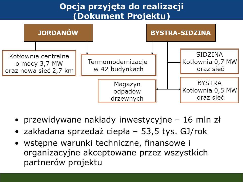 przewidywane nakłady inwestycyjne – 16 mln zł zakładana sprzedaż ciepła – 53,5 tys. GJ/rok wstępne warunki techniczne, finansowe i organizacyjne akcep