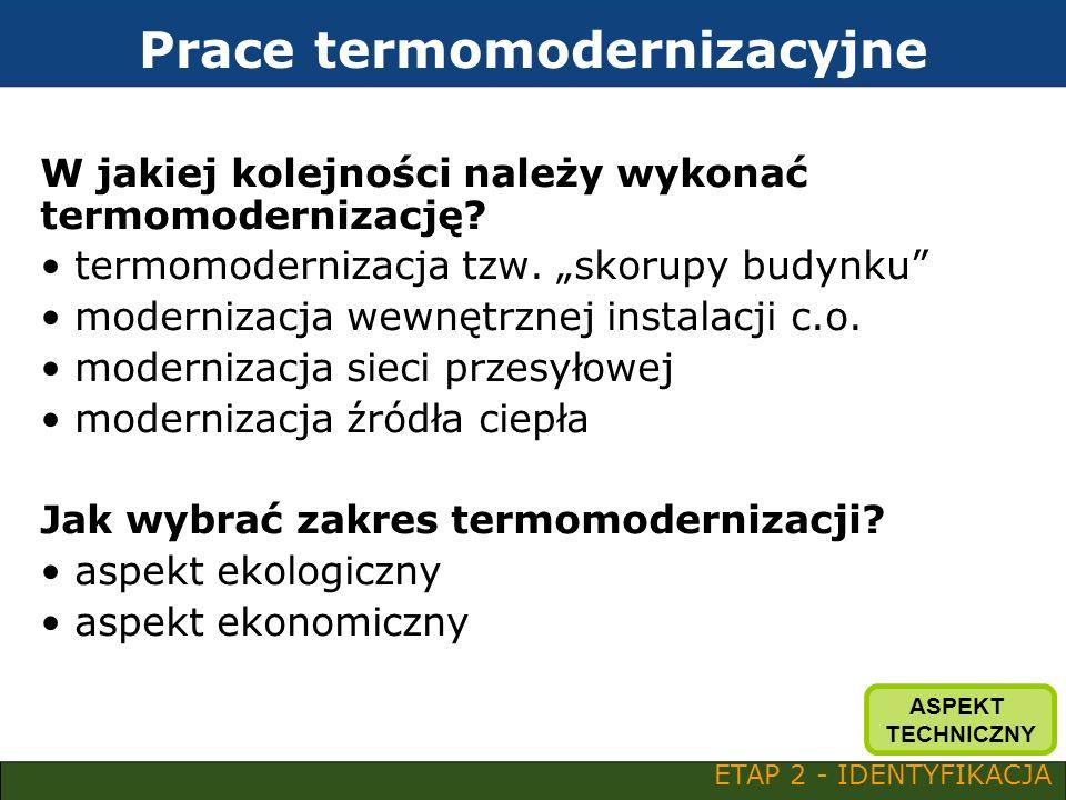 Prace termomodernizacyjne W jakiej kolejności należy wykonać termomodernizację? termomodernizacja tzw. skorupy budynku modernizacja wewnętrznej instal