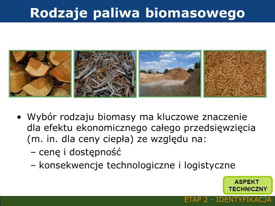 Rodzaje paliwa biomasowego Wybór rodzaju biomasy ma kluczowe znaczenie dla efektu ekonomicznego całego przedsięwzięcia (m. in. dla ceny ciepła) ze wzg