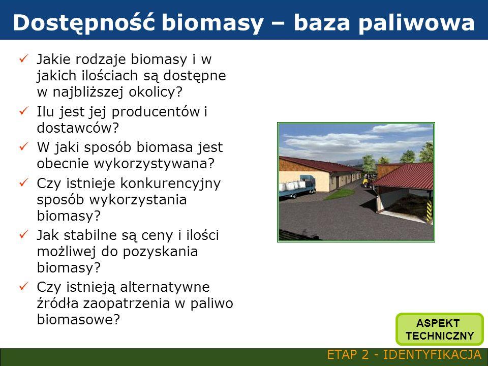Dostępność biomasy – baza paliwowa Jakie rodzaje biomasy i w jakich ilościach są dostępne w najbliższej okolicy? Ilu jest jej producentów i dostawców?