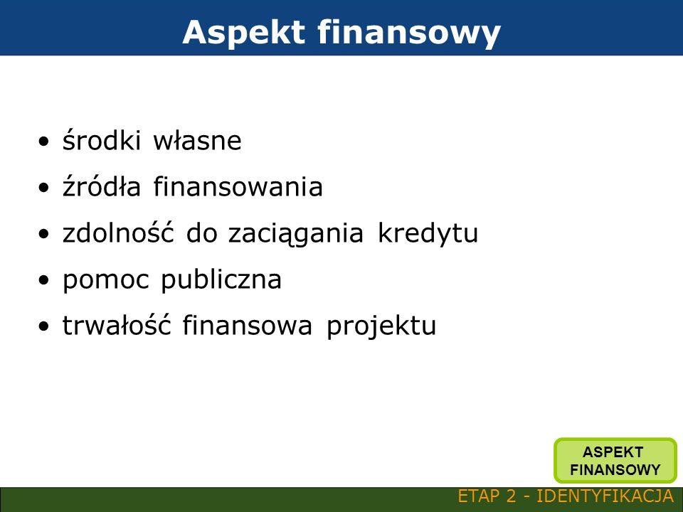 Aspekt finansowy środki własne źródła finansowania zdolność do zaciągania kredytu pomoc publiczna trwałość finansowa projektu ETAP 2 - IDENTYFIKACJA A