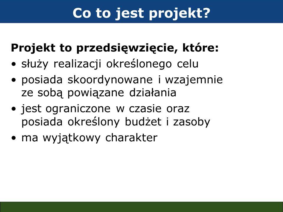 Co to jest projekt? Projekt to przedsięwzięcie, które: służy realizacji określonego celu posiada skoordynowane i wzajemnie ze sobą powiązane działania