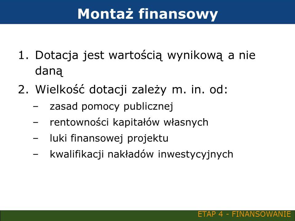 Montaż finansowy 1.Dotacja jest wartością wynikową a nie daną 2.Wielkość dotacji zależy m. in. od: –zasad pomocy publicznej –rentowności kapitałów wła