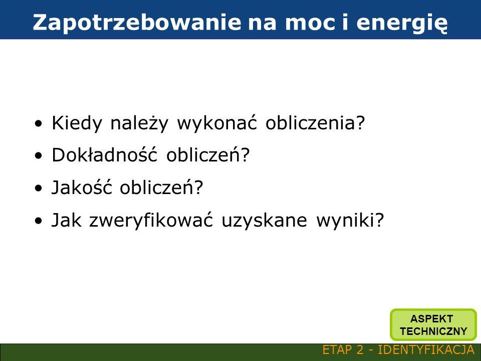 Zapotrzebowanie na moc i energię Kiedy należy wykonać obliczenia? Dokładność obliczeń? Jakość obliczeń? Jak zweryfikować uzyskane wyniki? ETAP 2 - IDE