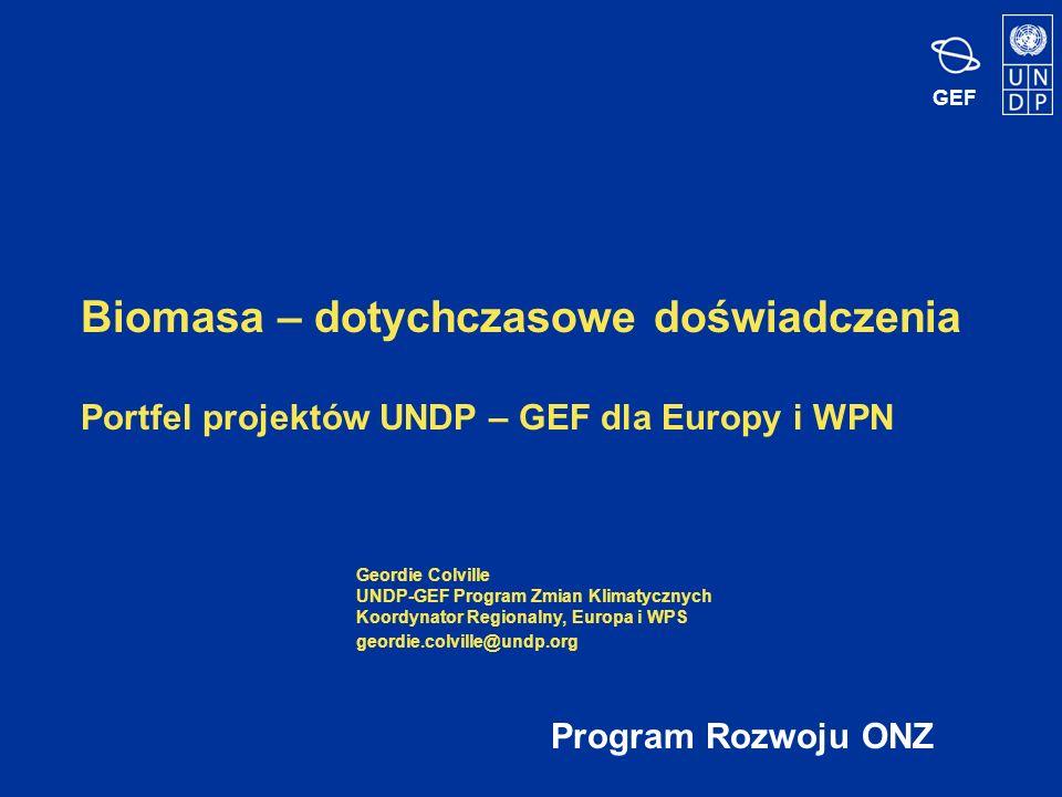GEF Biomasa – dotychczasowe doświadczenia Portfel projektów UNDP – GEF dla Europy i WPN Program Rozwoju ONZ Geordie Colville UNDP-GEF Program Zmian Klimatycznych Koordynator Regionalny, Europa i WPS geordie.colville@undp.org
