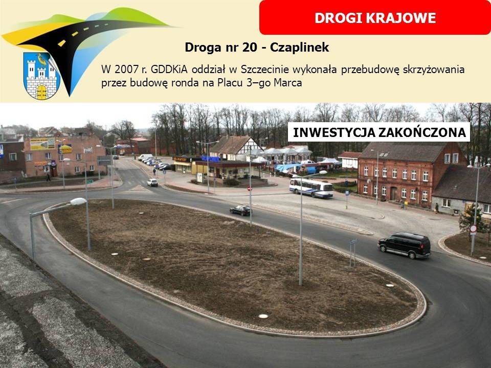 STAN PRZED INWESTYCJĄ W TRAKCIE PRZEBUDOWY INWESTYCJA ZAKOŃCZONA W 2007 r. GDDKiA oddział w Szczecinie wykonała przebudowę skrzyżowania przez budowę r