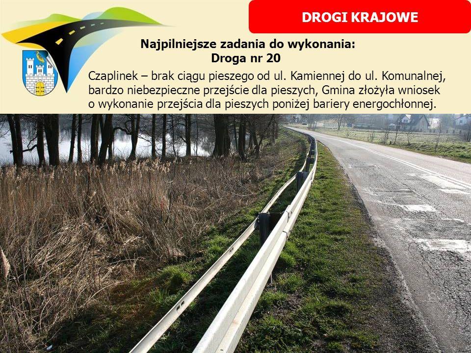 Najpilniejsze zadania do wykonania: Droga nr 20 Czaplinek – brak ciągu pieszego od ul. Kamiennej do ul. Komunalnej, bardzo niebezpieczne przejście dla