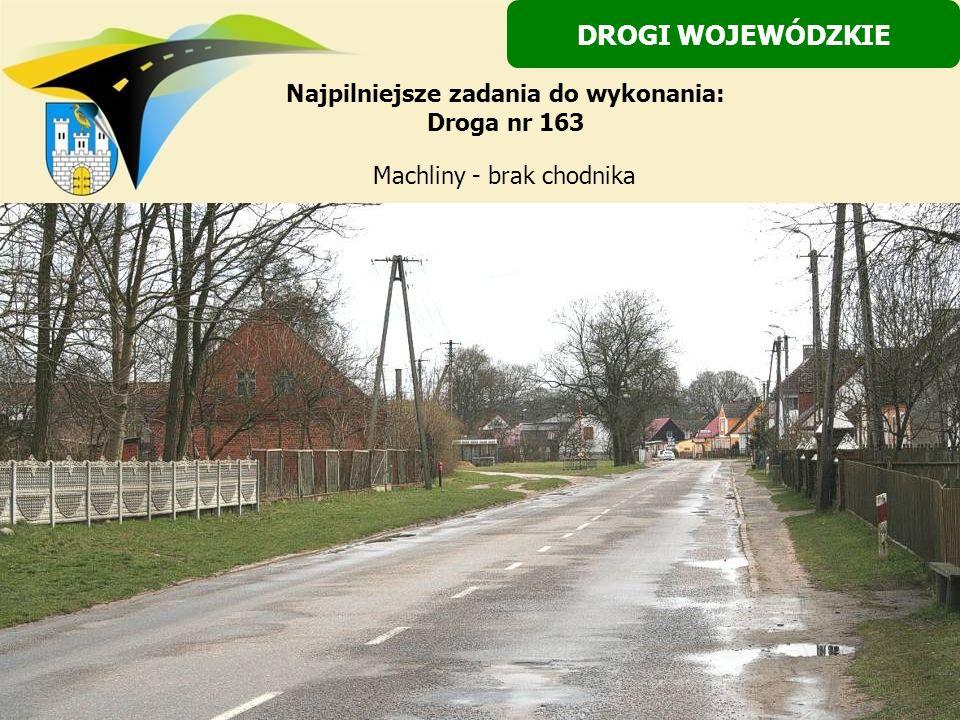 Machliny - brak chodnika DROGI WOJEWÓDZKIE Najpilniejsze zadania do wykonania: Droga nr 163