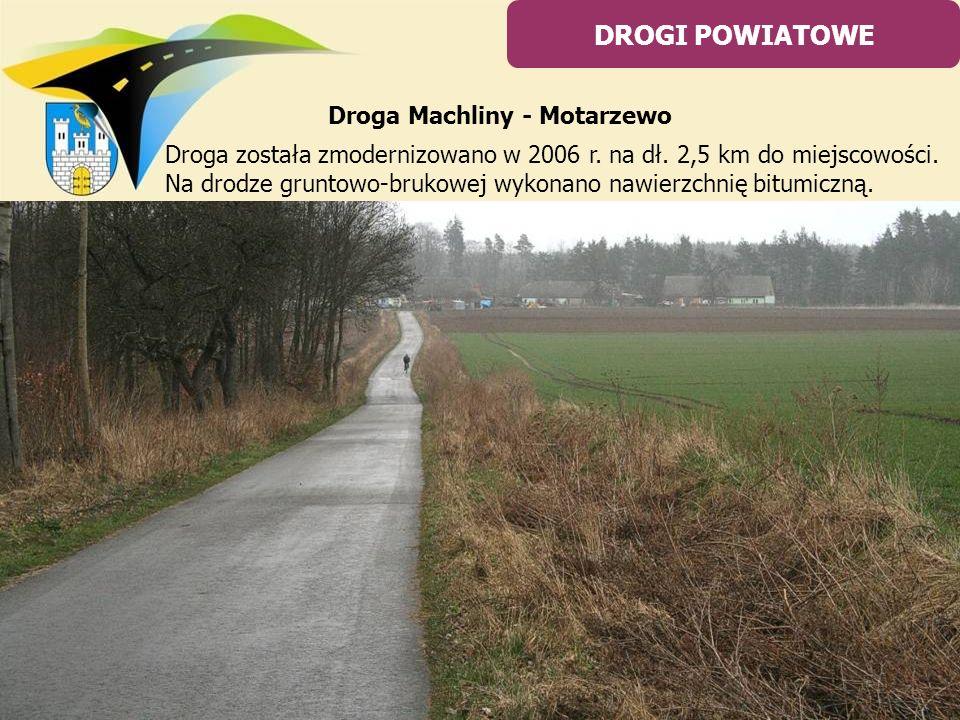 Droga została zmodernizowano w 2006 r. na dł. 2,5 km do miejscowości. Na drodze gruntowo-brukowej wykonano nawierzchnię bitumiczną. DROGI POWIATOWE Dr