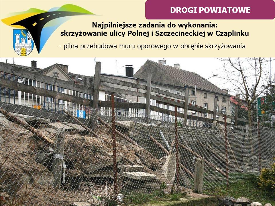 - pilna przebudowa muru oporowego w obrębie skrzyżowania DROGI POWIATOWE Najpilniejsze zadania do wykonania: skrzyżowanie ulicy Polnej i Szczecineckie