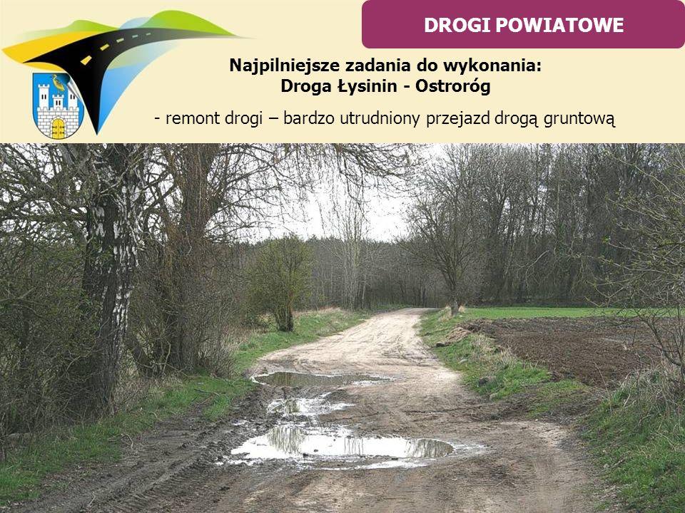 - remont drogi – bardzo utrudniony przejazd drogą gruntową DROGI POWIATOWE Najpilniejsze zadania do wykonania: Droga Łysinin - Ostroróg