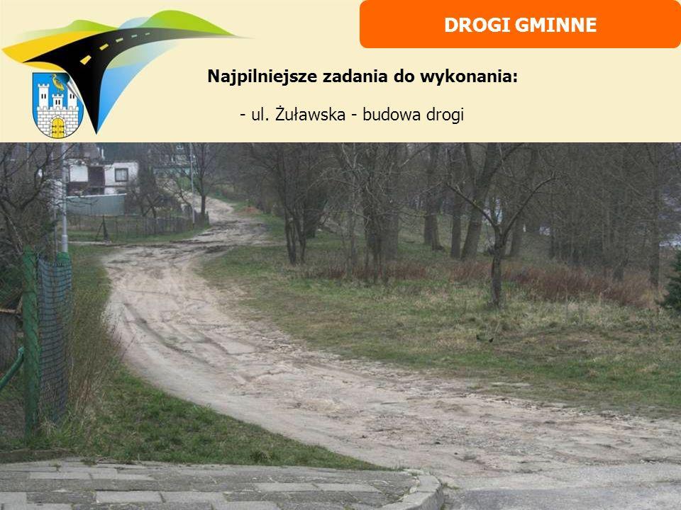 - ul. Żuławska - budowa drogi DROGI GMINNE Najpilniejsze zadania do wykonania: