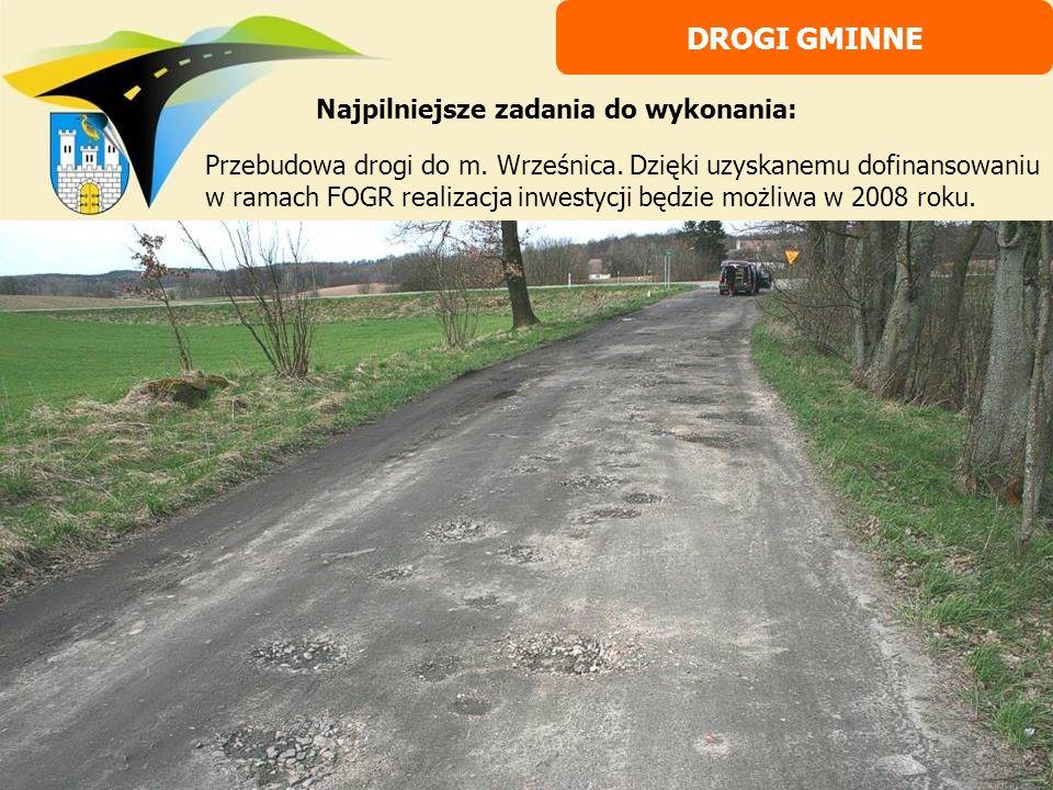 Przebudowa drogi do m. Wrześnica. Dzięki uzyskanemu dofinansowaniu w ramach FOGR realizacja inwestycji będzie możliwa w 2008 roku. DROGI GMINNE Najpil