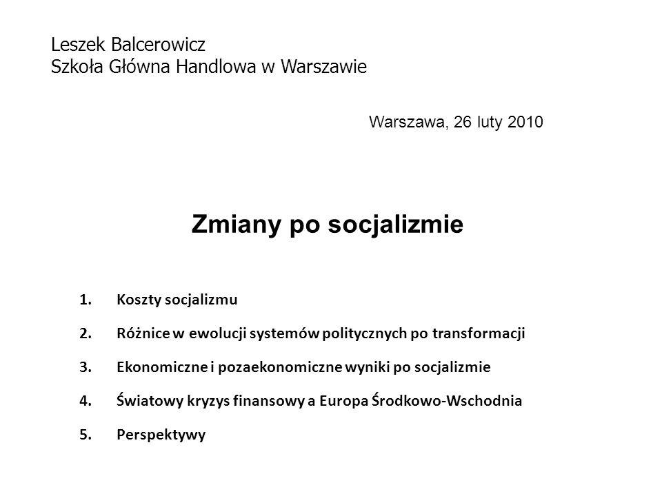 Zmiany po socjalizmie 1.Koszty socjalizmu 2.Różnice w ewolucji systemów politycznych po transformacji 3.Ekonomiczne i pozaekonomiczne wyniki po socjalizmie 4.Światowy kryzys finansowy a Europa Środkowo-Wschodnia 5.Perspektywy Leszek Balcerowicz Szkoła Główna Handlowa w Warszawie Warszawa, 26 luty 2010