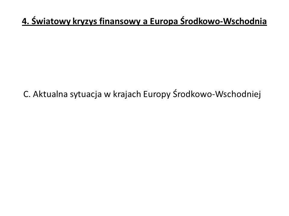 C. Aktualna sytuacja w krajach Europy Środkowo-Wschodniej 4. Światowy kryzys finansowy a Europa Środkowo-Wschodnia