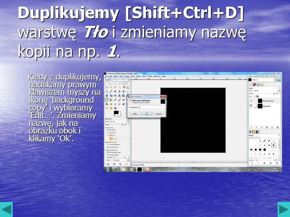 Duplikujemy [Shift+Ctrl+D] warstwę Tło i zmieniamy nazwę kopii na np. 1. Kiedy z duplikujemy, naciskamy prawym klawiszem myszy na ikonę background cop