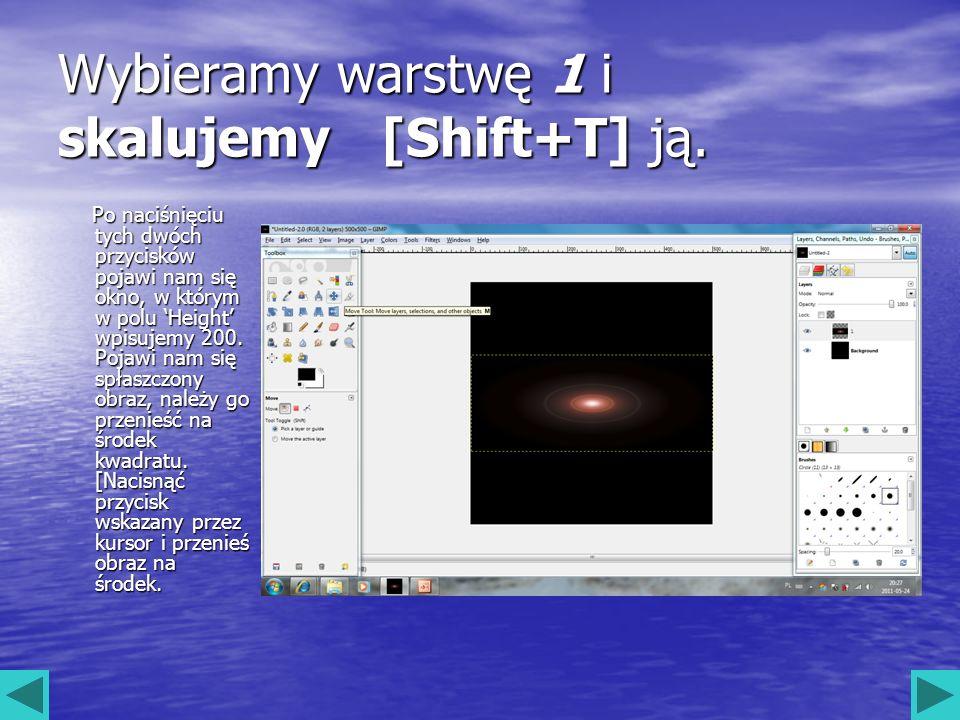 Wybieramy warstwę 1 i skalujemy [Shift+T] ją. Po naciśnięciu tych dwóch przycisków pojawi nam się okno, w którym w polu Height wpisujemy 200. Pojawi n