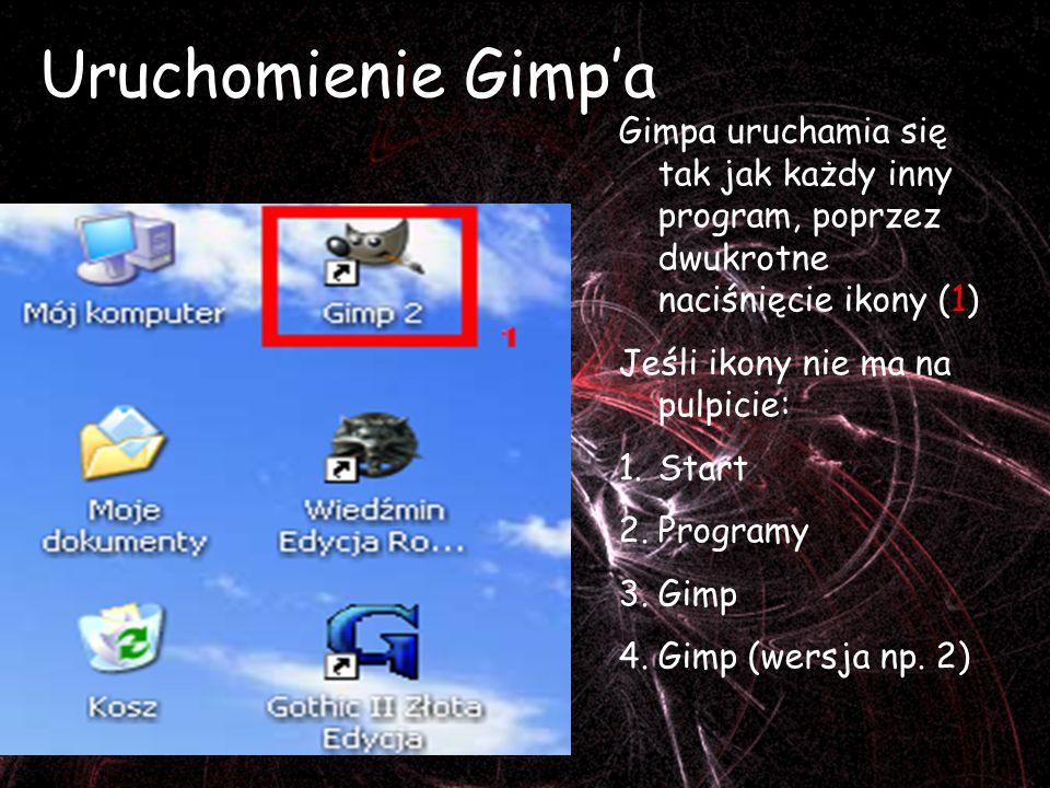 Uruchomienie Gimpa Gimpa uruchamia się tak jak każdy inny program, poprzez dwukrotne naciśnięcie ikony (1) Jeśli ikony nie ma na pulpicie: 1.Start 2.Programy 3.Gimp 4.Gimp (wersja np.