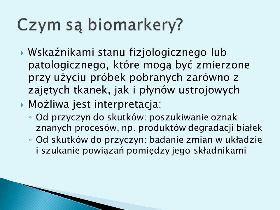 Wskaźnikami stanu fizjologicznego lub patologicznego, które mogą być zmierzone przy użyciu próbek pobranych zarówno z zajętych tkanek, jak i płynów us