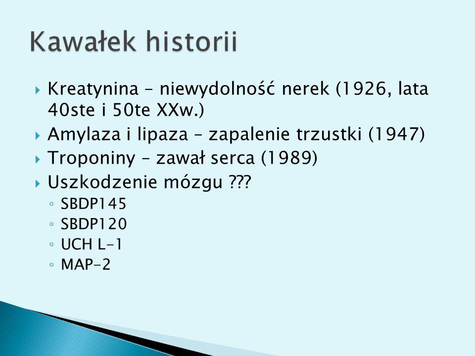 Kreatynina – niewydolność nerek (1926, lata 40ste i 50te XXw.) Amylaza i lipaza – zapalenie trzustki (1947) Troponiny – zawał serca (1989) Uszkodzenie