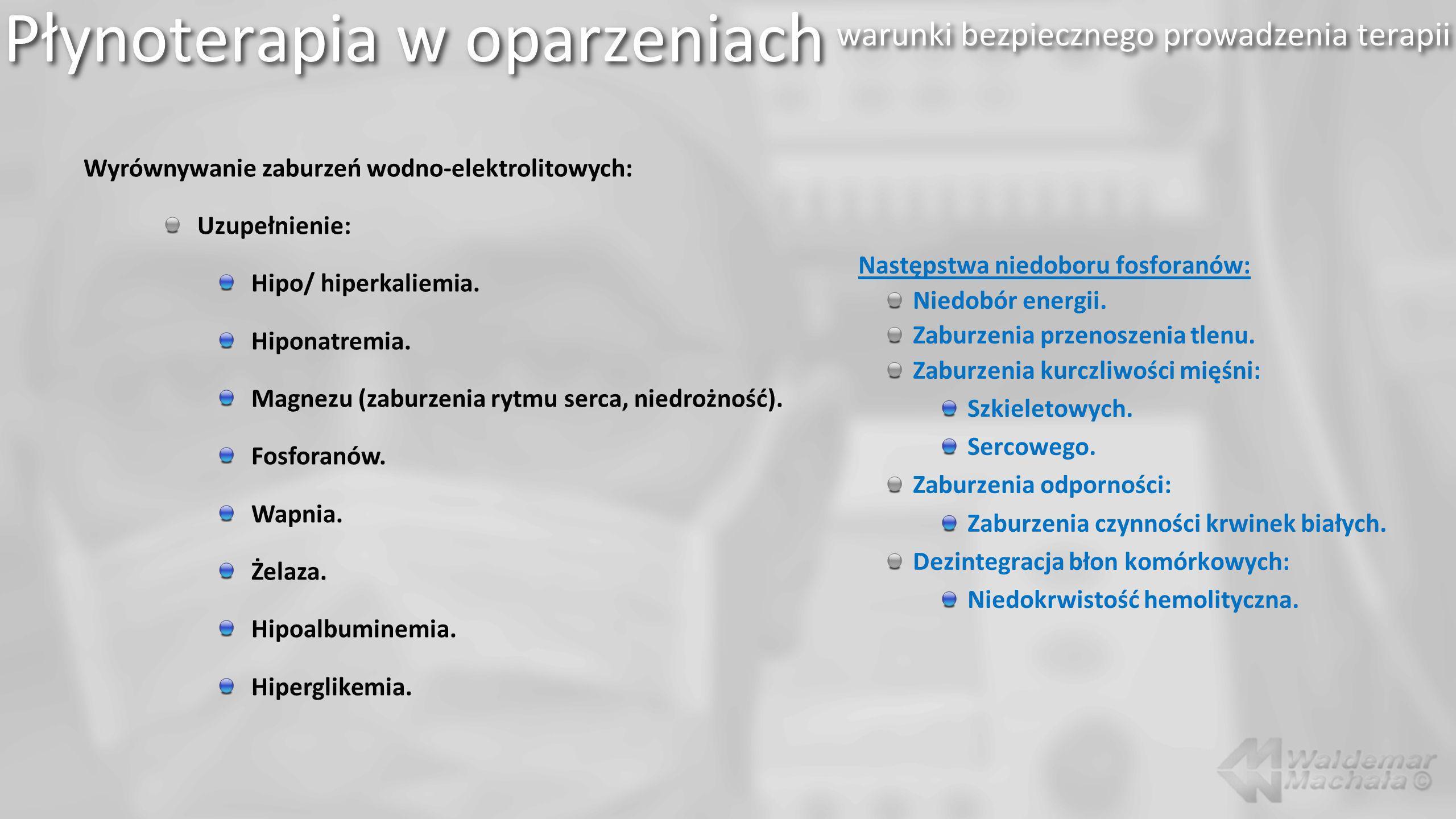 Płynoterapia w oparzeniach warunki bezpiecznego prowadzenia terapii Wyrównywanie zaburzeń wodno-elektrolitowych: Uzupełnienie: Hipo/ hiperkaliemia.