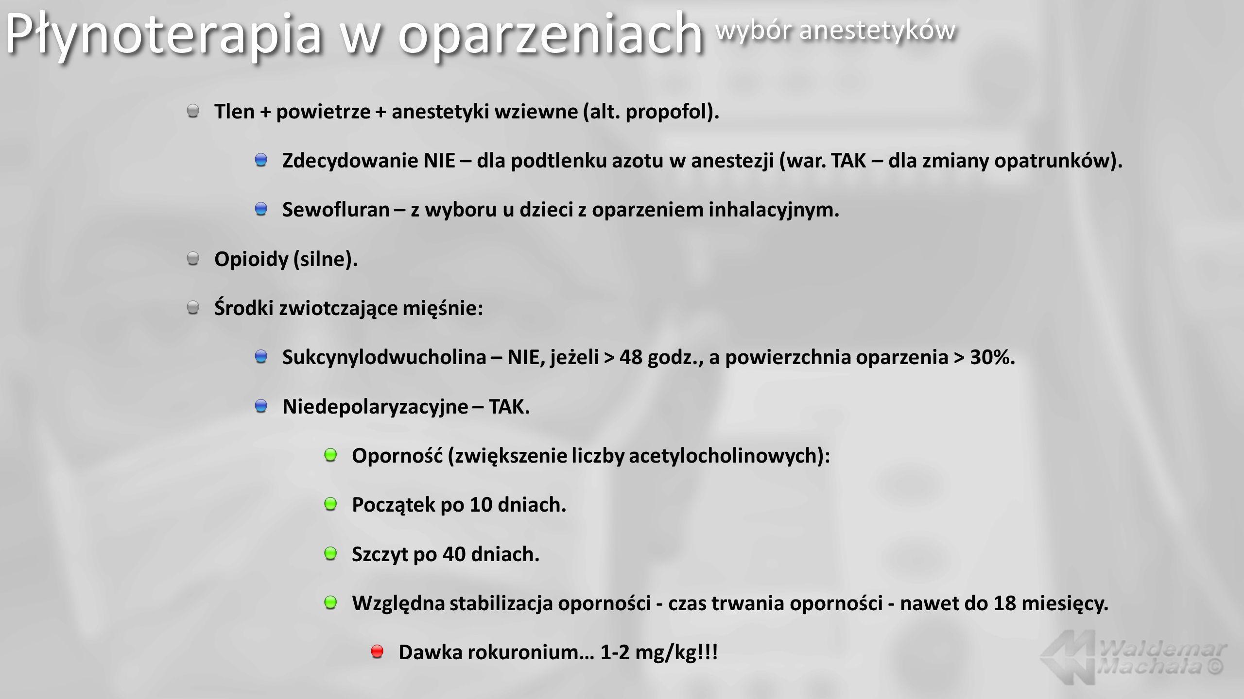 Płynoterapia w oparzeniach wybór anestetyków Tlen + powietrze + anestetyki wziewne (alt.