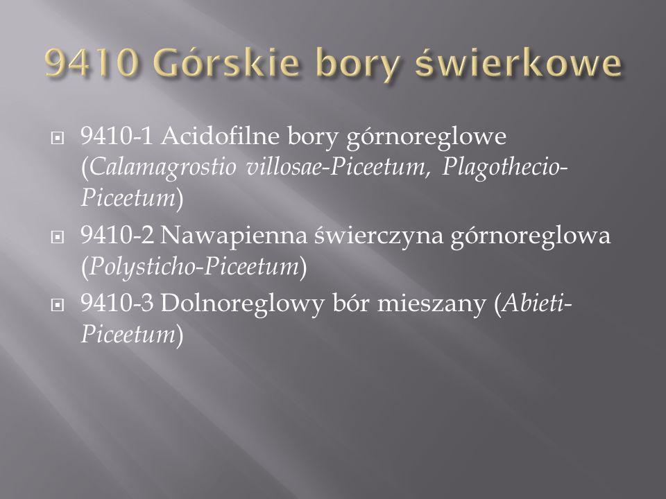 9410-1 Acidofilne bory górnoreglowe ( Calamagrostio villosae-Piceetum, Plagothecio- Piceetum ) 9410-2 Nawapienna świerczyna górnoreglowa ( Polysticho-