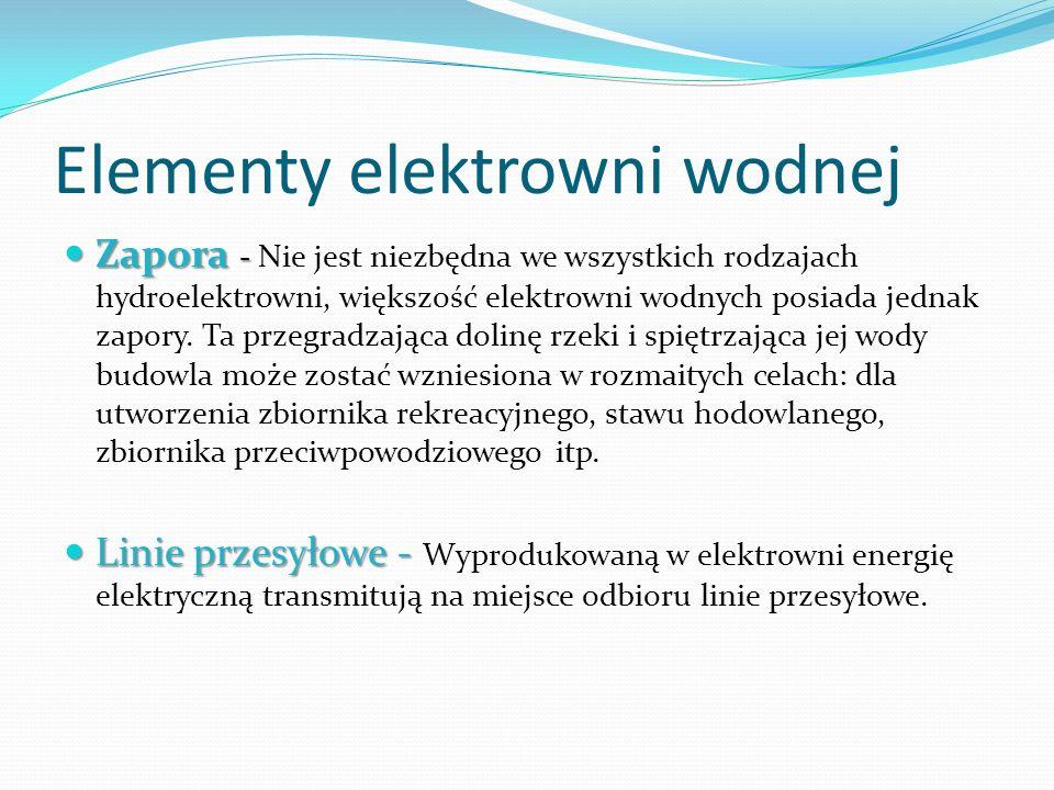 Elementy elektrowni wodnej Zapora - Zapora - Nie jest niezbędna we wszystkich rodzajach hydroelektrowni, większość elektrowni wodnych posiada jednak z