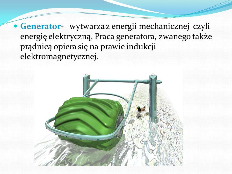 Generator- wytwarza z energii mechanicznej czyli energię elektryczną. Praca generatora, zwanego także prądnicą opiera się na prawie indukcji elektroma