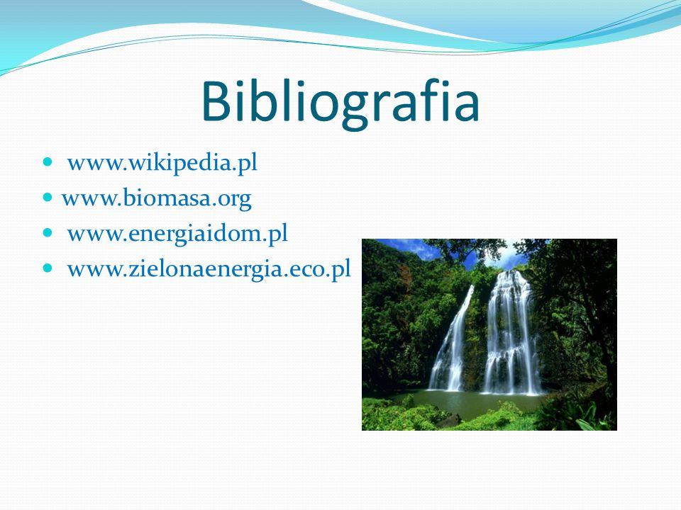 Bibliografia www.wikipedia.pl www.biomasa.org www.energiaidom.pl www.zielonaenergia.eco.pl