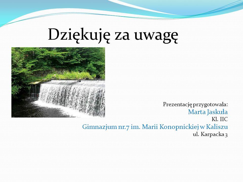 Dziękuję za uwagę Prezentację przygotowała: Marta Jaskuła Kl. IIC Gimnazjum nr.7 im. Marii Konopnickiej w Kaliszu ul. Karpacka 3