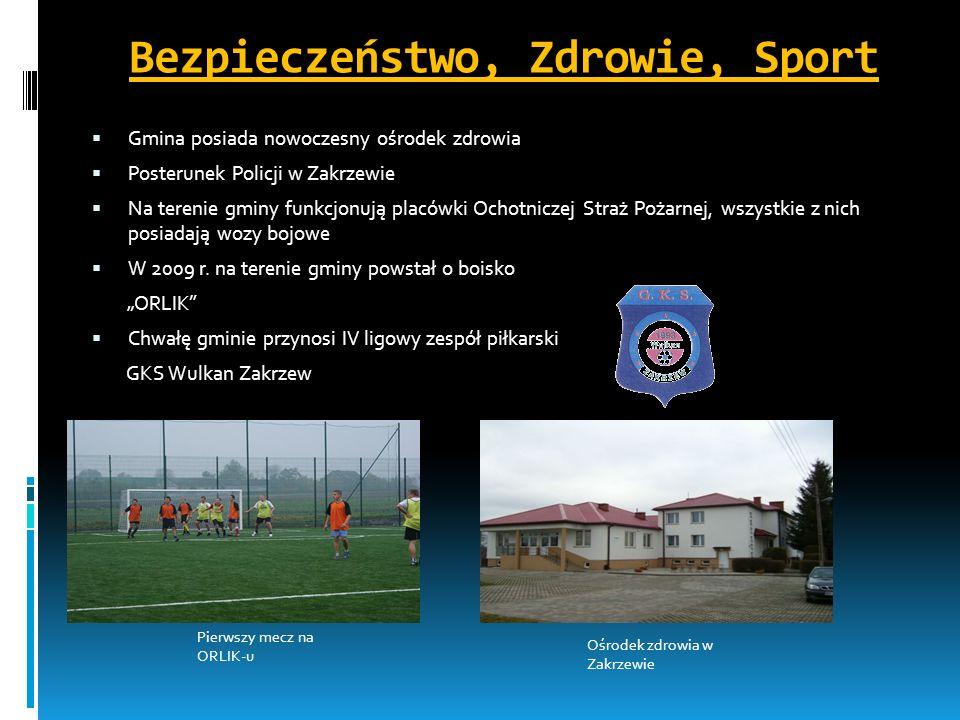 Bezpieczeństwo, Zdrowie, Sport Gmina posiada nowoczesny ośrodek zdrowia Posterunek Policji w Zakrzewie Na terenie gminy funkcjonują placówki Ochotnicz