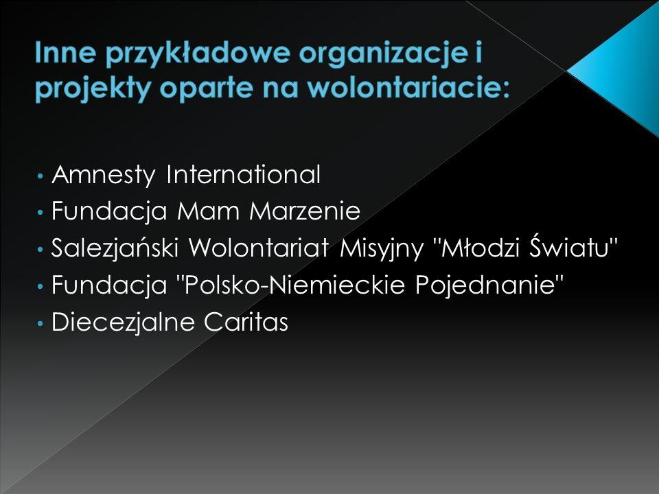 Amnesty International Fundacja Mam Marzenie Salezjański Wolontariat Misyjny Młodzi Światu Fundacja Polsko-Niemieckie Pojednanie Diecezjalne Caritas