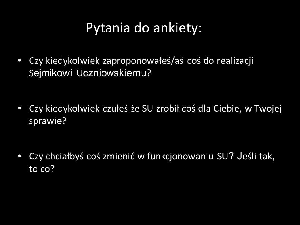 Pytania do ankiety: Czy kiedykolwiek zaproponowałeś/aś coś do realizacji S ejmikowi U czniowskiemu .