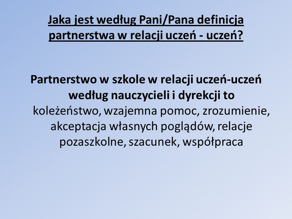 Jaka jest według Pani/Pana definicja partnerstwa w relacji uczeń - uczeń.