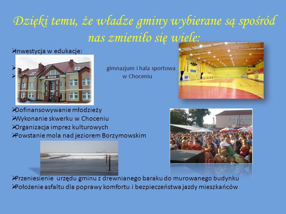 Dzięki temu, że władze gminy wybierane są spośród nas zmieniło się wiele: Inwestycja w edukacje: gimnazjum i hala sportowa w Choceniu Dofinansowywanie