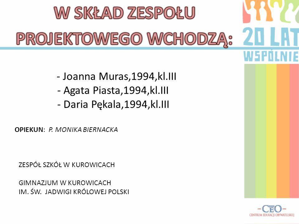 - Joanna Muras,1994,kl.III - Agata Piasta,1994,kl.III - Daria Pękala,1994,kl.III ZESPÓŁ SZKÓŁ W KUROWICACH GIMNAZJUM W KUROWICACH IM. ŚW. JADWIGI KRÓL