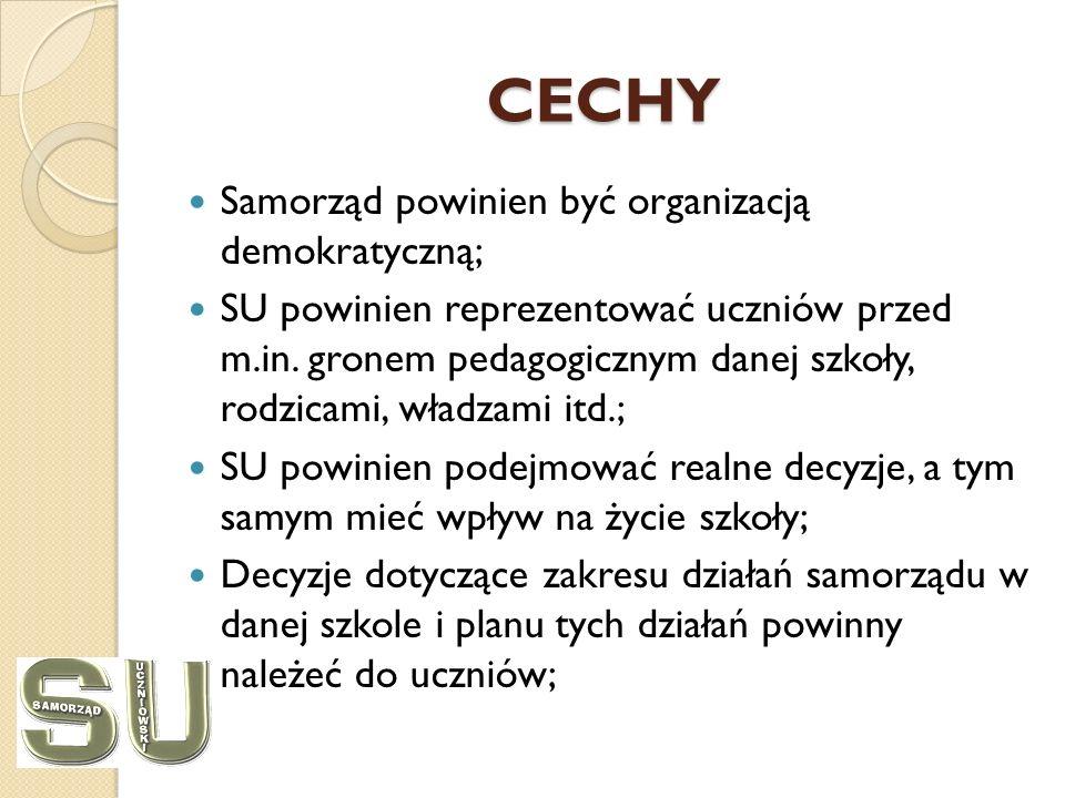 CECHY Samorząd powinien być organizacją demokratyczną; SU powinien reprezentować uczniów przed m.in.