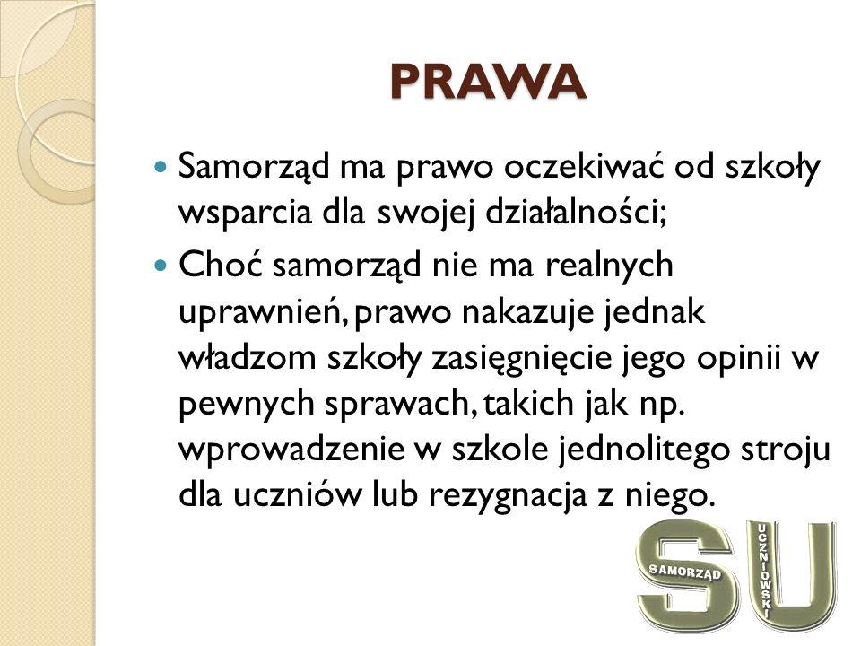PRAWA Samorząd ma prawo oczekiwać od szkoły wsparcia dla swojej działalności; Choć samorząd nie ma realnych uprawnień, prawo nakazuje jednak władzom szkoły zasięgnięcie jego opinii w pewnych sprawach, takich jak np.